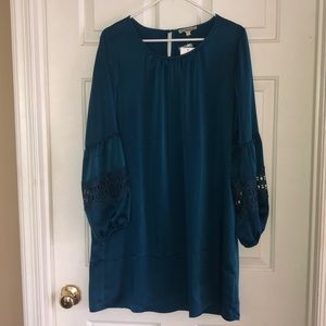 Dark Teal Shirt w/ Embroidery Cut Sleeves